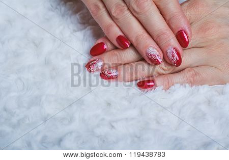 Red Nail Art With White Lace With Dots And Lines