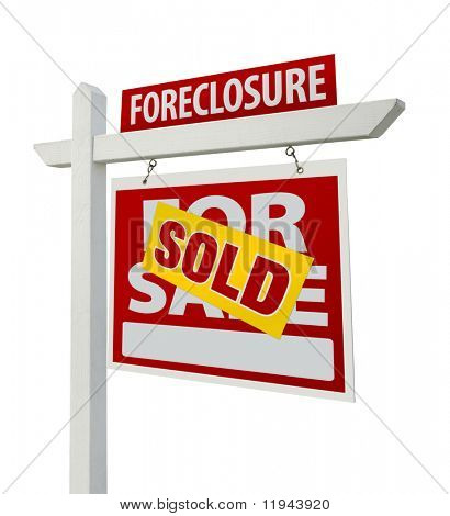 Sold Foreclosure Home For Sale Real Estate Sign Isolated on a White Background with Clipping Paths - Right Facing.