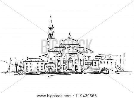 Old town sketch. Vector drawing