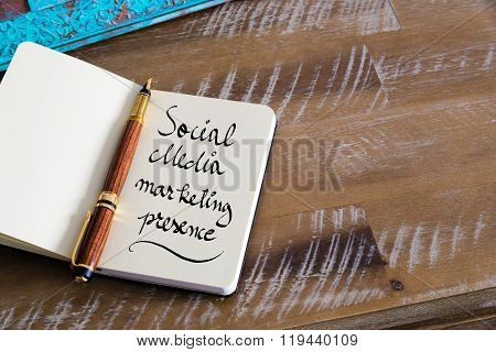 Handwritten Text Social Media Marketing Presence