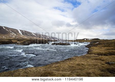 River At The Countryside Of West Iceland