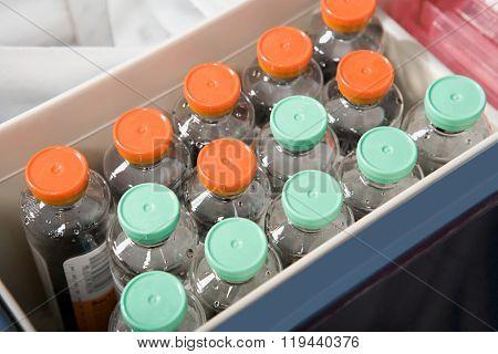 Bottles of liquid in a hospital