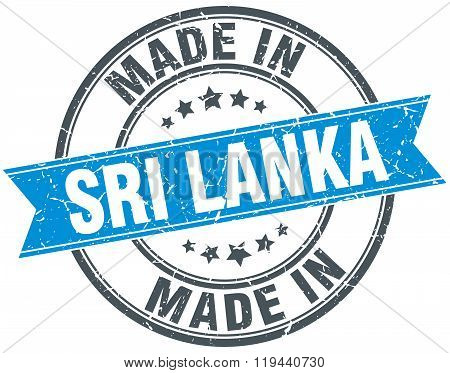 made in Sri Lanka blue round vintage stamp