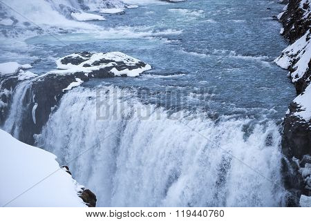 Closeup Of Waterfall Gullfoss In Iceland
