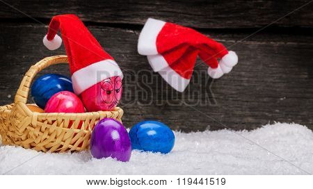 Christmas Hats Hanging On A Nail, Easter Eggs With Face
