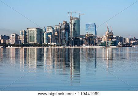 Panorama building in Baku bay, Azerbaijan
