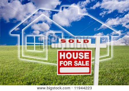 Sold For Sale Real Estate Sign Over Clouds, Grass Field, Sky and House Icon.