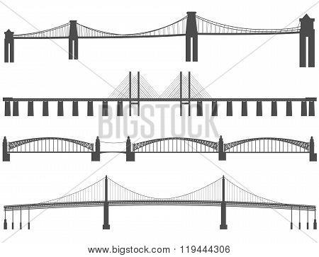 Horizontal Black Silhouettes Of Different Bridges.