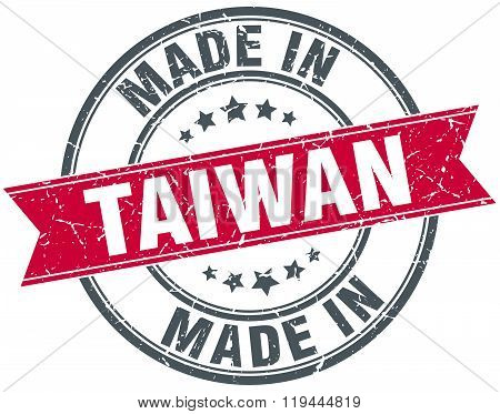 made in Taiwan red round vintage stamp