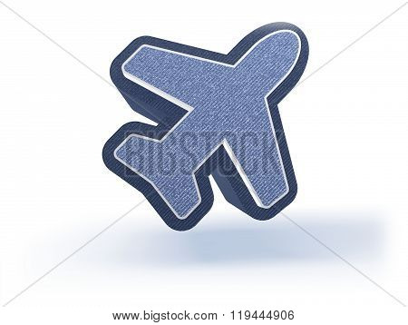 Airplane Shopping Icon In Blueish Denim Look