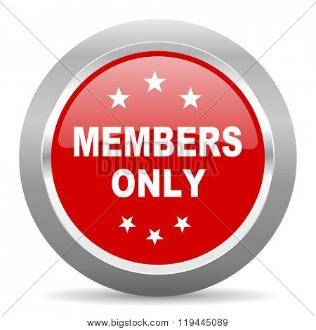 members only red chrome web circle glossy icon