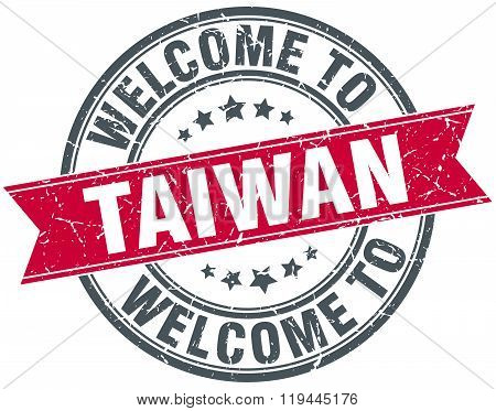 welcome to Taiwan red round vintage stamp