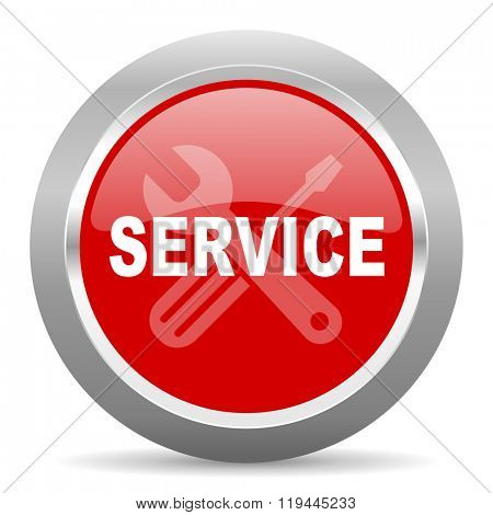 service red chrome web circle glossy icon