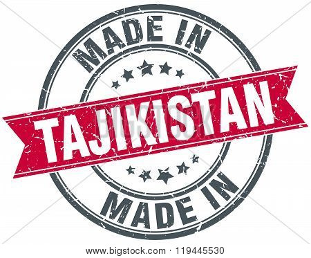 made in Tajikistan red round vintage stamp