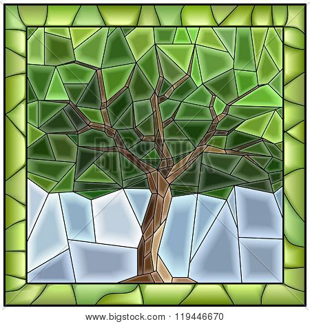 Vector Green Illustration Of Tree.
