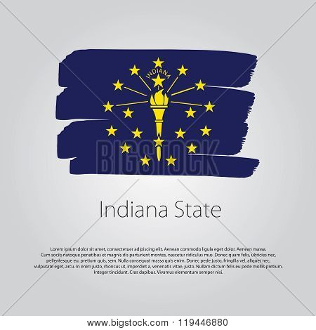 Indiana State Flag With Colored Hand Drawn Lines In Vector Format
