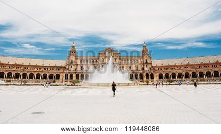Plaza de Espana - landmark in Seville, Andalusia, Spain. Renaiss