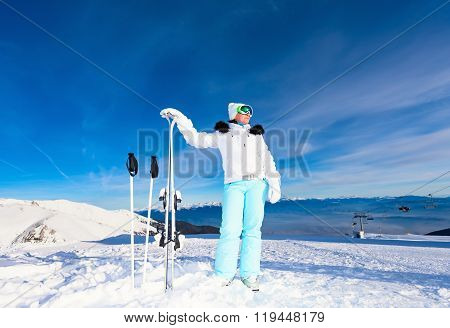 Middle-aged Woman Skier