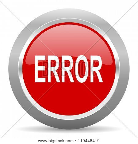 error red chrome web circle glossy icon