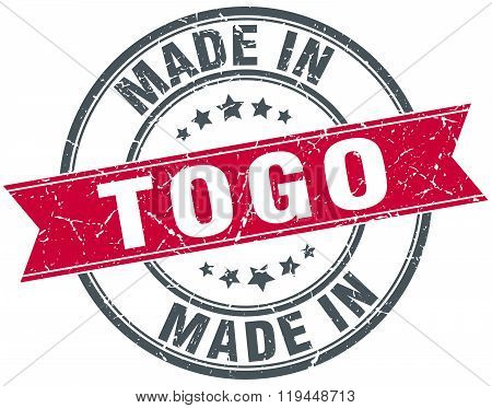 made in Togo red round vintage stamp