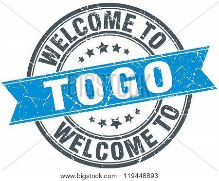 welcome to Togo blue round vintage stamp
