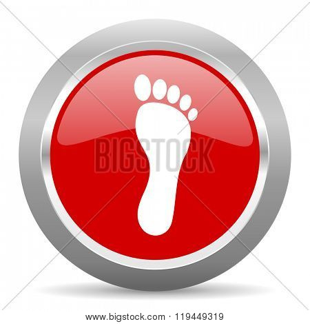 foot red chrome web circle glossy icon