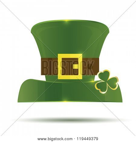 Green St. Patrick's Day Hat. Vector illustration. Hat isolated on white background.