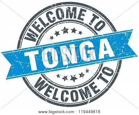 welcome to Tonga blue round vintage stamp