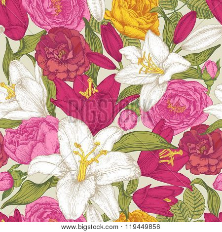 Vector floral seamless pattern with white and red lilies, pink and yellow roses