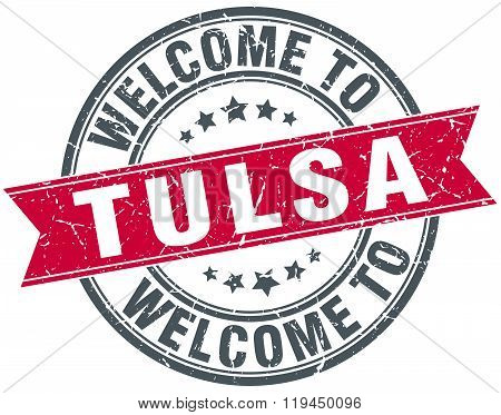 welcome to Tulsa red round vintage stamp
