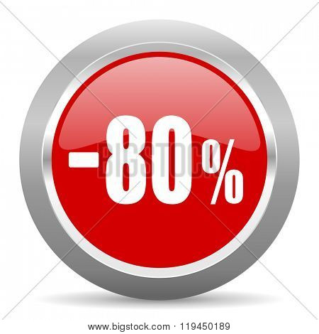 80 percent sale retail red chrome web circle glossy icon