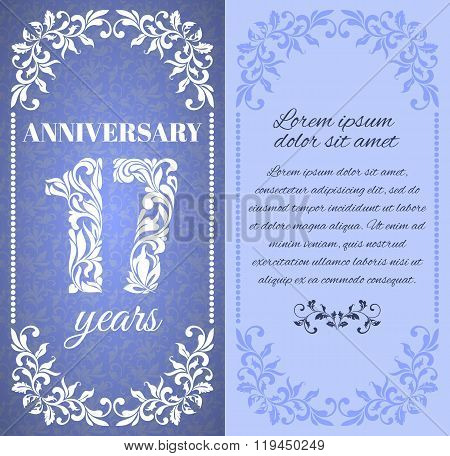 Luxury Template With Floral Frame And A Decorative Pattern For The 17 Years Anniversary. There Is A