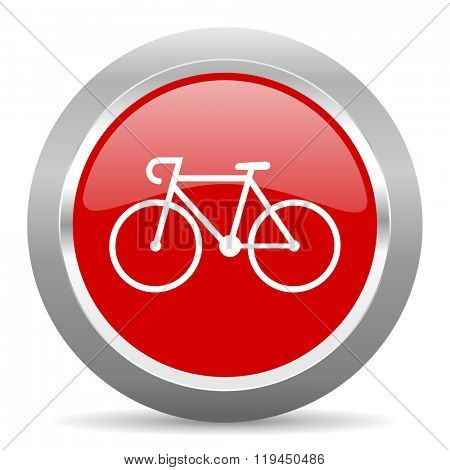 bicycle red chrome web circle glossy icon