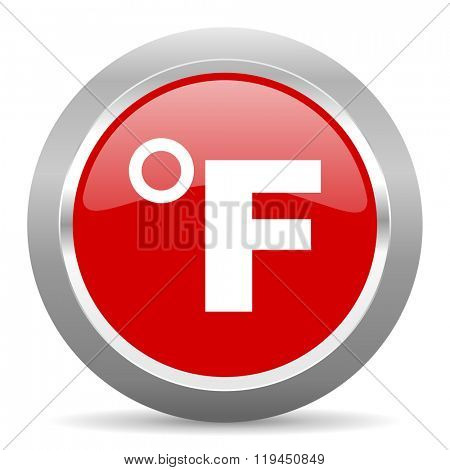 fahrenheit red chrome web circle glossy icon