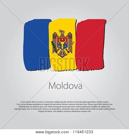 Moldova Flag With Colored Hand Drawn Lines In Vector Format