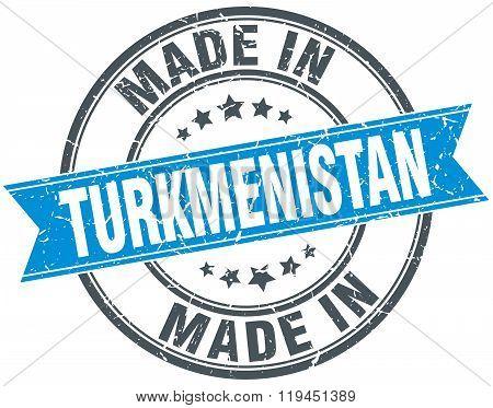 made in Turkmenistan blue round vintage stamp
