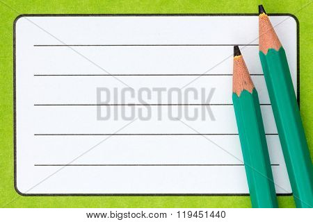 Exercise Book  Name Label And Pencils