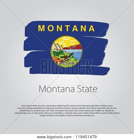 Montana State Flag With Colored Hand Drawn Lines In Vector Format