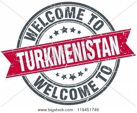 welcome to Turkmenistan red round vintage stamp