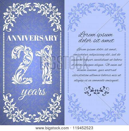Luxury Template With Floral Frame And A Decorative Pattern For The 21 Years Anniversary. There Is A