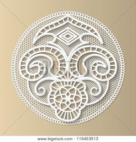 Lacy design element the European medieval patternfloral ornament paper doily 3D vector.