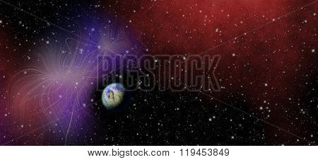 Panoramic looking into deep space. Dark night sky full of stars. Mysterious, enigmatic planet