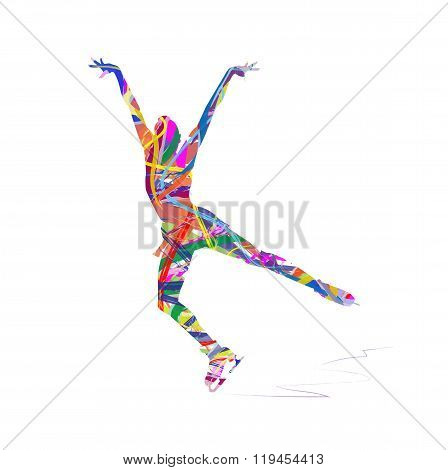 abstract silhouette of ice skater