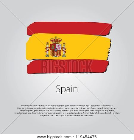 Spain Flag With Colored Hand Drawn Lines In Vector Format