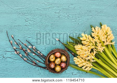 Easter Composition With Yellow Hyacinths, Pussy-willow And Easter Eggs. Top View, Copy Space.