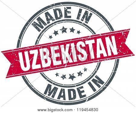 made in Uzbekistan red round vintage stamp