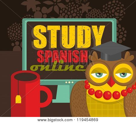 Teacher owl recommending course of Spanish language on-line.