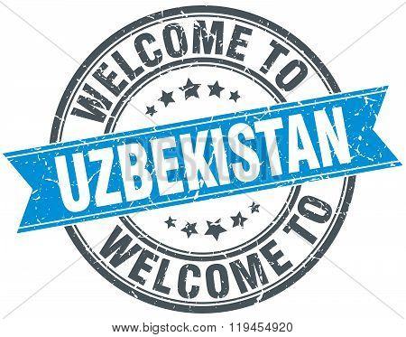 welcome to Uzbekistan blue round vintage stamp