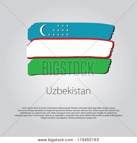 Uzbekistan Flag With Colored Hand Drawn Lines In Vector Format