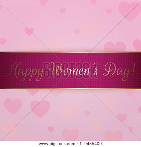 Greeting Ribbon. International Womens Day Banner